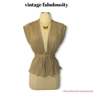 SEXY Vintage Deep V Pleated Sleeveless Blouse Top